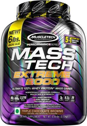 Muscletech Performance Series Tech Extreme 2000 Weight Gainers/Mass Gainers  (2.72 kg, Triple Chocolate Brownie)- Flipkart