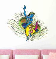 Decals Design 'Dancing Krishna God with Peacock Feather Background' Wall Sticker (PVC Vinyl, 50 cm x 70 cm), Multicolour- Amazon
