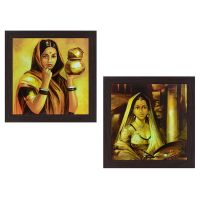 Wens 'Cultural Lady' Wall Hanging Painting (MDF, 35 cm x 71 cm x 2.5 cm)- Amazon