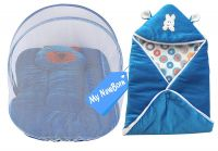 My NewBorn Baby Wrapper and Foldable Mosquito Bed Net with Pillow (Blue)- Amazon