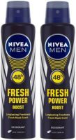 Nivea Men Fresh Power Boost Deodorant Spray  -  For Men  (300 ml, Pack of 2)- Flipkart