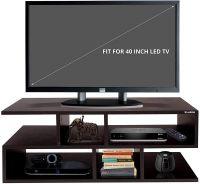 Klaxon Wooden Z Shape Modern TV/TV Unit Matte Finish LED Stand for Living Room with Open Shelves- Amazon