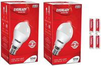 Eveready 10W LED Bulb Pack of 2 with Free 4 Batteries (White, Pack of 2)