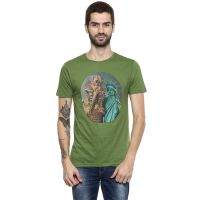 [Size S, XL] RS By Rocky Star Mens Round Neck Printed T-Shirt_Green- Amazon