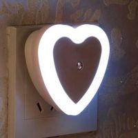 WORA Night Lamps Heart Shape romantic Love Light Sensor LED Night Light Plug-in Power Night Lamp(7 cm, White)- Flipkart