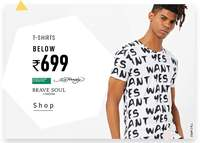 Ajio : Men's Tshirts starting from Rs.145.