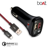 boAt Dual Port Rapid Car Charger (Qualcomm Certified) with Quick Charge 3.0 + Free Micro USB Cable- (Black)- Amazon