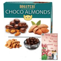 BOGATCHI Happy Anniversary Gifts, Chocolate Coated Almonds (100g) + FREE Anniversary Greeting Card- Amazon