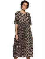 [Size M] Varanga Charcoal Printed Dress KFF-VAR2185501_DR- Amazon