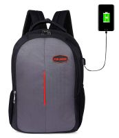 FUR JADEN USB Charging School and College 25 Ltrs Grey Casual Backpack (BM36_GreyRed)- Amazon