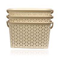 BMS Lifestyle 3 Piece Plastic Basket, 3.8 Liters, Ivory (BMSAMYA43)- Amazon