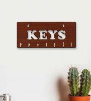 """JaipurCrafts """"KEYS"""" Designer 6 Hooks For Home/Wall Decor Wooden Key Holder(6 Hooks, Brown)- Flipkart"""