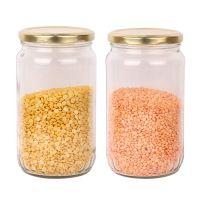Machak Kitchen Storage Glass Jar with Rust Proof Air Tight Golden Cap, 500 GMS, Clear (2)- Amazon