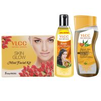 VLCC Ayurveda Intense Nourishing Shampoo,100ml, Ayurveda Hair Oil,120ml and Facial Kit Combo- Amazon