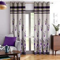 Story@Home Berry Blackout 1 Piece Jacquard Door Curtains- Amazon