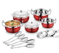Classic Essentials Stainless Steel Handi Set, 10-Pieces, Red- Amazon