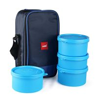 Cello Max Fresh Delight Plastic Lunch Box with Bag, 4-Pieces, Blue- Amazon