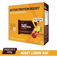 RiteBite Max Protein Active Honey Lemon Bars 420g Pack of 6 (70g x 6)- Amazon