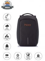 Hoox 16-inch Synthetic Anti Theft Business Bag with USB Charging Port and Music AUX Extension (Black)- Amazon