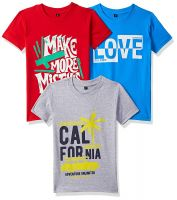 (Size 2-4Y) T2F Boy's Regular fit T-Shirt (Pack of 3)- Amazon