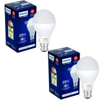 [LD] Philips Stellar Bright 20-Watt Round LED Bulb (Pack of 2, Cool Day Light/Crystal White)- Amazon